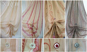 Curtain Linosa with Buttonholes in fabric 2 Panels 140 x 290 Type Linen in silk