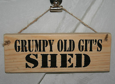 GRUMPY OLD GIT'S SHED Adult Rude Hanging Door Den Sign Plaque Home Office Garage