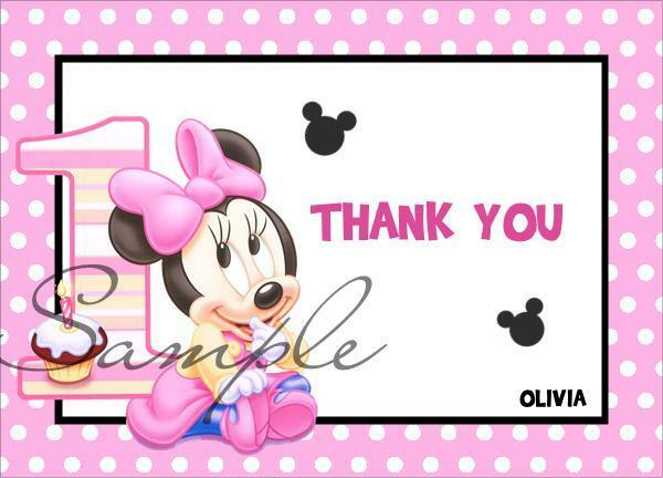 10 Minnie Mouse 1st Birthday Folded Thank You Notes Cards Pink Ebay