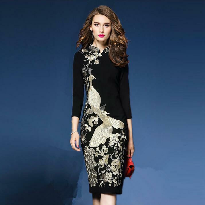 Womens Stand Collar Slim Embroidery Dress 3 4 Sleeve Wrap Ball Gown Party Qipao