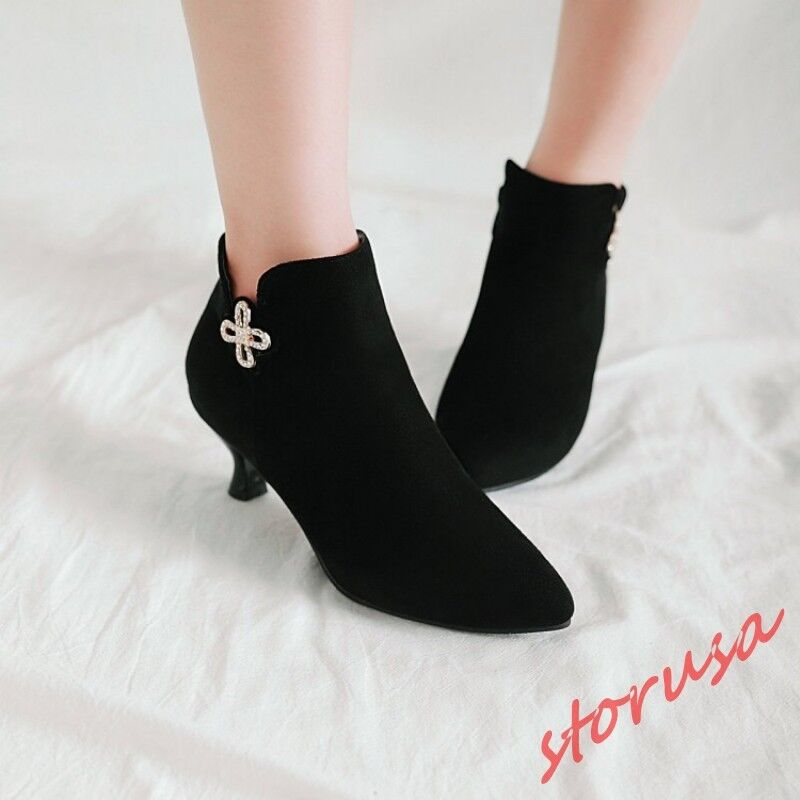 Womens Pointy Toe Faux Suede Sweet Floral Ankle Boots Kitten heels Party shoes
