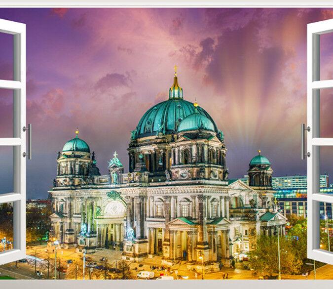 3D Kathedrale Nachtansicht 83 Tapete Wandgemälde Tapete Tapeten Bild Familie DE  | Die Qualität Und Die Verbraucher Zunächst  | Export  | Leicht zu reinigende Oberfläche