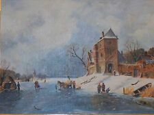 "Large ""Frozen Winter Village"" People playing on Ice Oil on Board Framed"