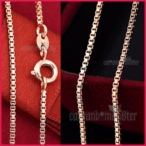 LADIES Girls 18K ROSE GOLD GF SOLID Dainty BOX CHAIN NECKLACE FOR PENDANT 45cm