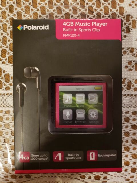 New Polaroid PMP120-4PK Built-In Sports Clip Touch Screen Mp3 Player