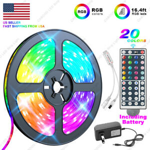 US-Local-5M-16-4-ft-LED-Strip-Light-SMD-5050-RGB-44-Key-Remote-Controller-Power