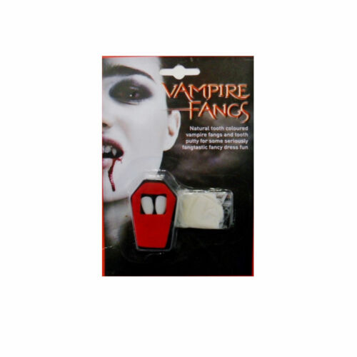DRACULA VAMPIRE FANGS TEETH CAPS WHITE SCARY FANCY DRESS HALLOWEEN ACCESSORY