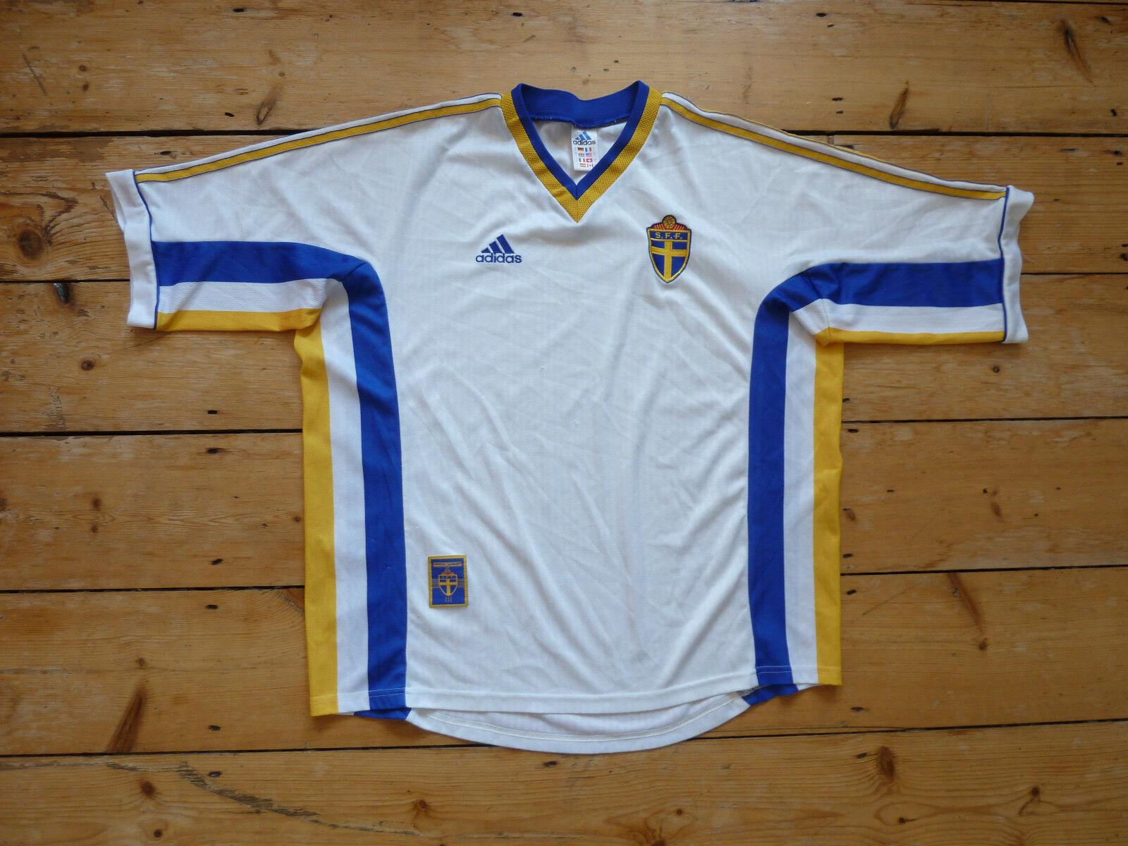 Svezia Maglia da Calcio Large Casa 2000 Svedese Maglietta Euro