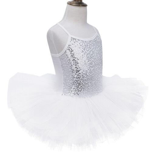 UK Kids Girls Ballet Dance Dress Sequined Leotards Tutu Skirts Ballerina Costume