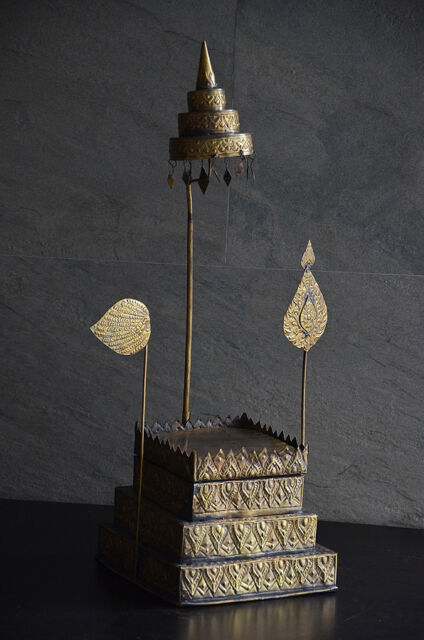 Antique Shrine Altar Brass Buddha Amulet Stand Display Asian Ornate Vintage Old