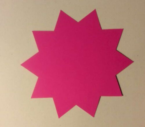 """4/""""x4/"""" Round 200pk Fluorescent Starburst Price Neon Retail Tags Cards Signs NEW"""