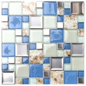 Fine Details About New Kitchen Bath Backsplash Beach Style Inner Conch Sea Blue Mosaic Tiles Home Interior And Landscaping Synyenasavecom