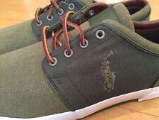 NEW Men's Polo Ralph Lauren Faxon Low Casual Shoes GREEN Pumice Canvas Size 17D