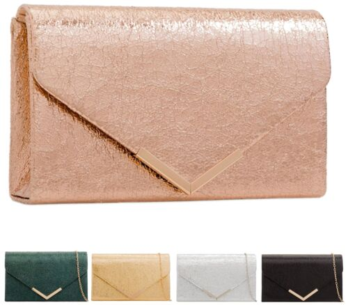 Womens Envelope Metallic Leather Rose Gold Silver Ladies Party Prom Clutch Bag