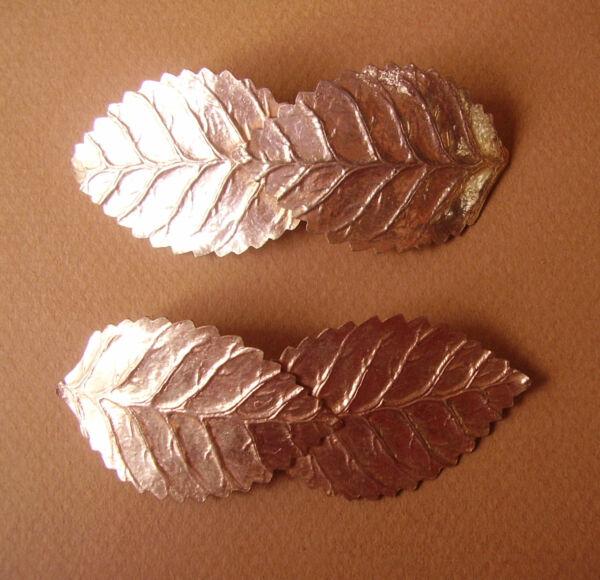 """1499 / Paire De Barrettes Plates """"feuilles"""" Metal Dore Escurrir"""