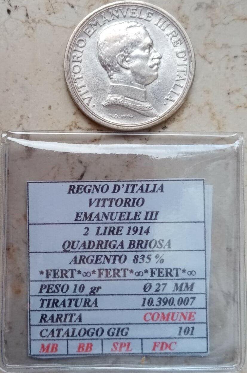 Immagine 1 - LOTTO-96-ARGENTO-2-LIRE-1914-REGNO-D-039-ITALIA-VITTORIO-EMANUELE-III-QUADRIGA-BRIOS