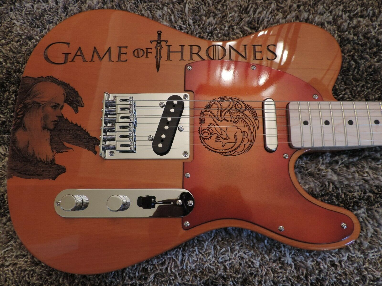 TELECASTER GAME OF THRONES THE NIGHT KING FENDER PARTSCASTER TELE GUITAR W BAG