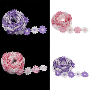 6-Yds-Embroidered-Daisy-Lace-Trimming-Ribbon-Wedding-Applique-DIY-Sewing-Craft