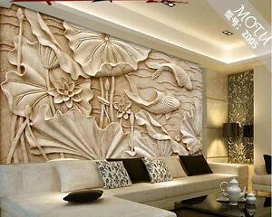 Image Is Loading 3D Wallpaper Bedroom Mural Roll Modern Luxury Lotus
