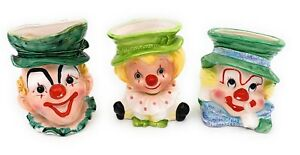 Vintage-Clown-Planter-Vases-Quiet-Finger-Napcoware-Lefton-Hobo-4498-A-Relpo