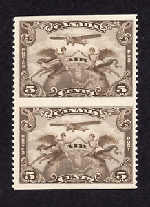 Canada-C1c-5-Cent-Brown-Olive-Air-Pair-Imperforate-Horizontally-MLH