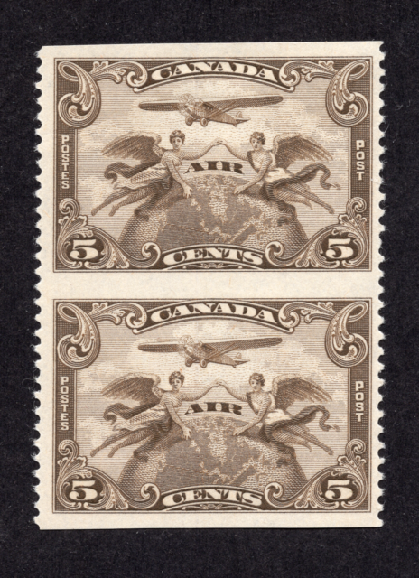 Canada #C1c 5 Cent Brown Olive Air Pair Imperforate Horizontally MLH