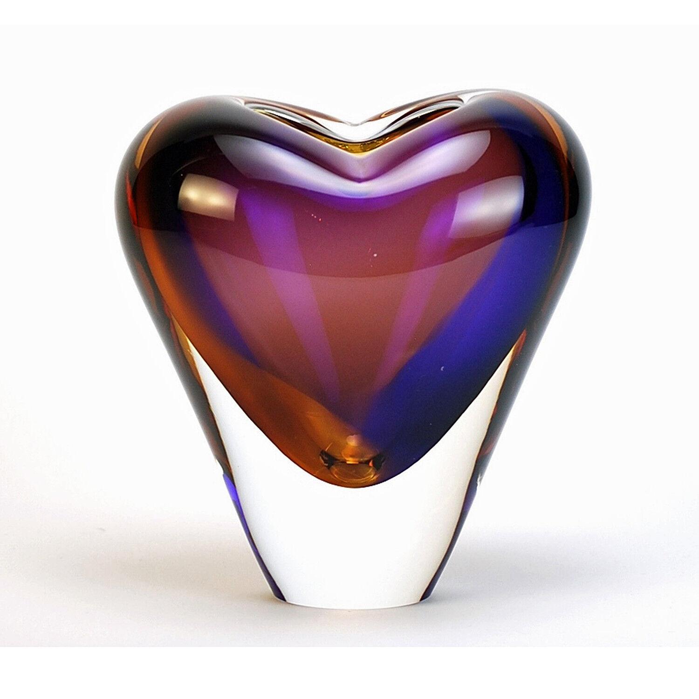 VASES - MURANO GLASS HEART VASE - 7 H - TOPAZ   AMETHYST - ITALIAN ART GLASS
