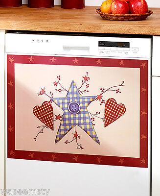 Sammeln Seltenes Country Patchwork Heart Star Primitive Folk Art Dishwasher Magnet Kitchen Decor Mit Motiv