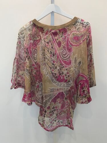 Beige Color Size Les Petite Paisley Copains Silk Scarf Multi Top Small qEnwA6RIn