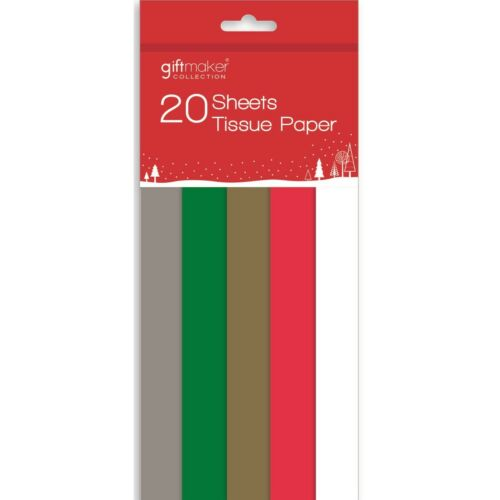 20 x Sheets Of Christmas Tissue Gift Wrap Box Assorted Colours Red Green Gold