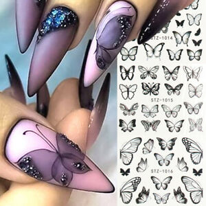 Blue-Black-Design-Butterfly-Water-Transfer-Decals-Colorful-Nail-Stickers