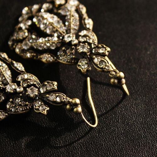 Boucles d/'Oreilles Doré Art Deco Chandelier Feuille Filigrane Pavé Mariage X8