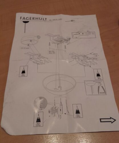 """FAGERHULT CEILING ROSE LIGHT PENDANT WITH SUPPORT WIRE 42/""""  13KG LOAD"""