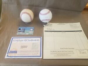 Greg Maddux CY - Tom Glavine Signed Baseballs with Certificate. 2 Signed Balls.
