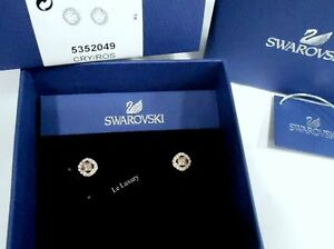 1859a6dc9 Image is loading Swarovski-Angelic-Square-Pierced-Earrings-White-ROS-Crystal -