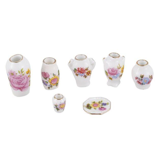 Dollhosue miniature modern ceramic china porcelain  rose vase 7pcs OV014