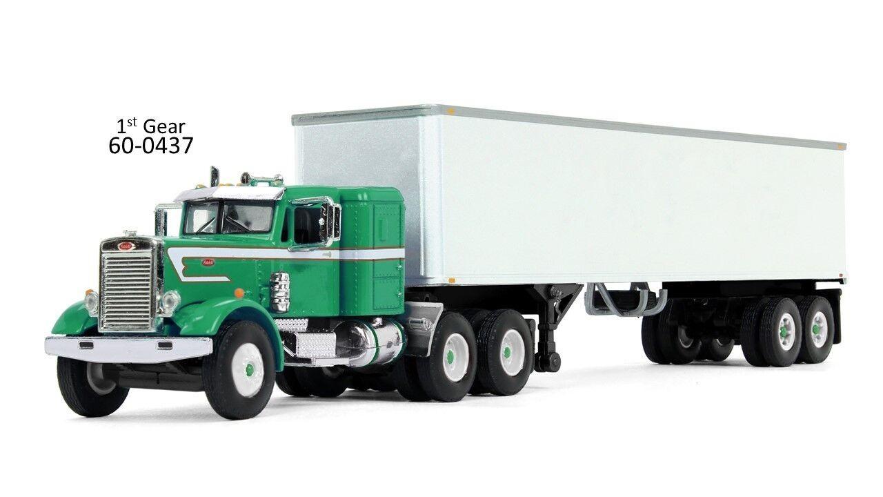 DCP GREEN PETERBILT 351 W WHITE VAN TRAILER 1 64 FIRST GEAR 60-0437