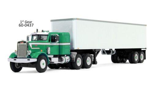 DCP GREEN PETERBILT 351 W//WHITE VAN TRAILER 1//64 FIRST GEAR 60-0437