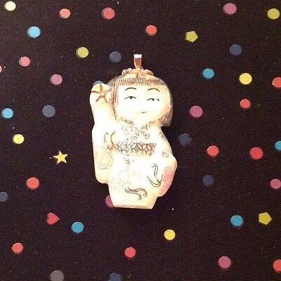 Carved Bone Asian Geisha Girl Sculpture Figure Pendant Ebay