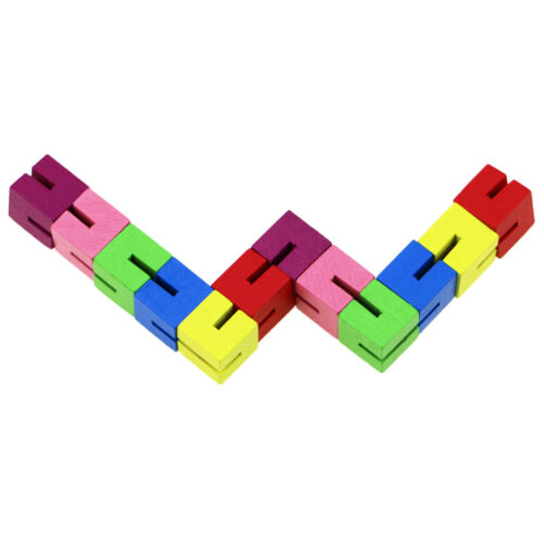 Wooden Fidget PuzzleCube Shape Shifter Brain Teaser Blocks Transforming Toy