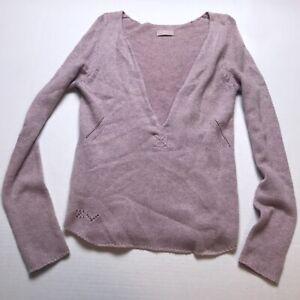 Zadig-amp-Voltaire-Purple-Pink-Knit-V-Neck-100-Cashmere-Sweater-Size-Medium-A1304