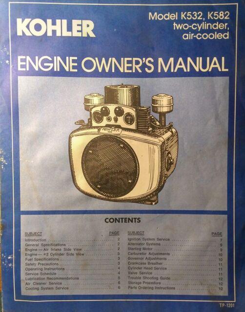 Kohler K482 K532 K582 Engine Owner Parts 2 Manual S Garden