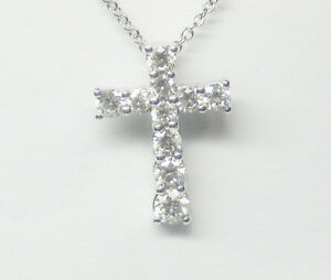 077ct round cut diamond cross pendant f si 14k white gold ebay image is loading 0 77ct round cut diamond cross pendant f mozeypictures Gallery