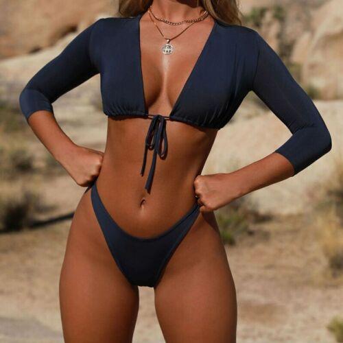 Women/'s Bikini Set Long Sleeve Push-up Swimsuit G-String Swimwear Bathing Suit