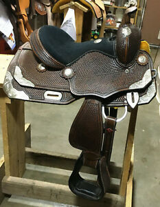 """New Double T Pony Western Show Saddle 12"""" Children Silver Trim Youth Horse Tack"""