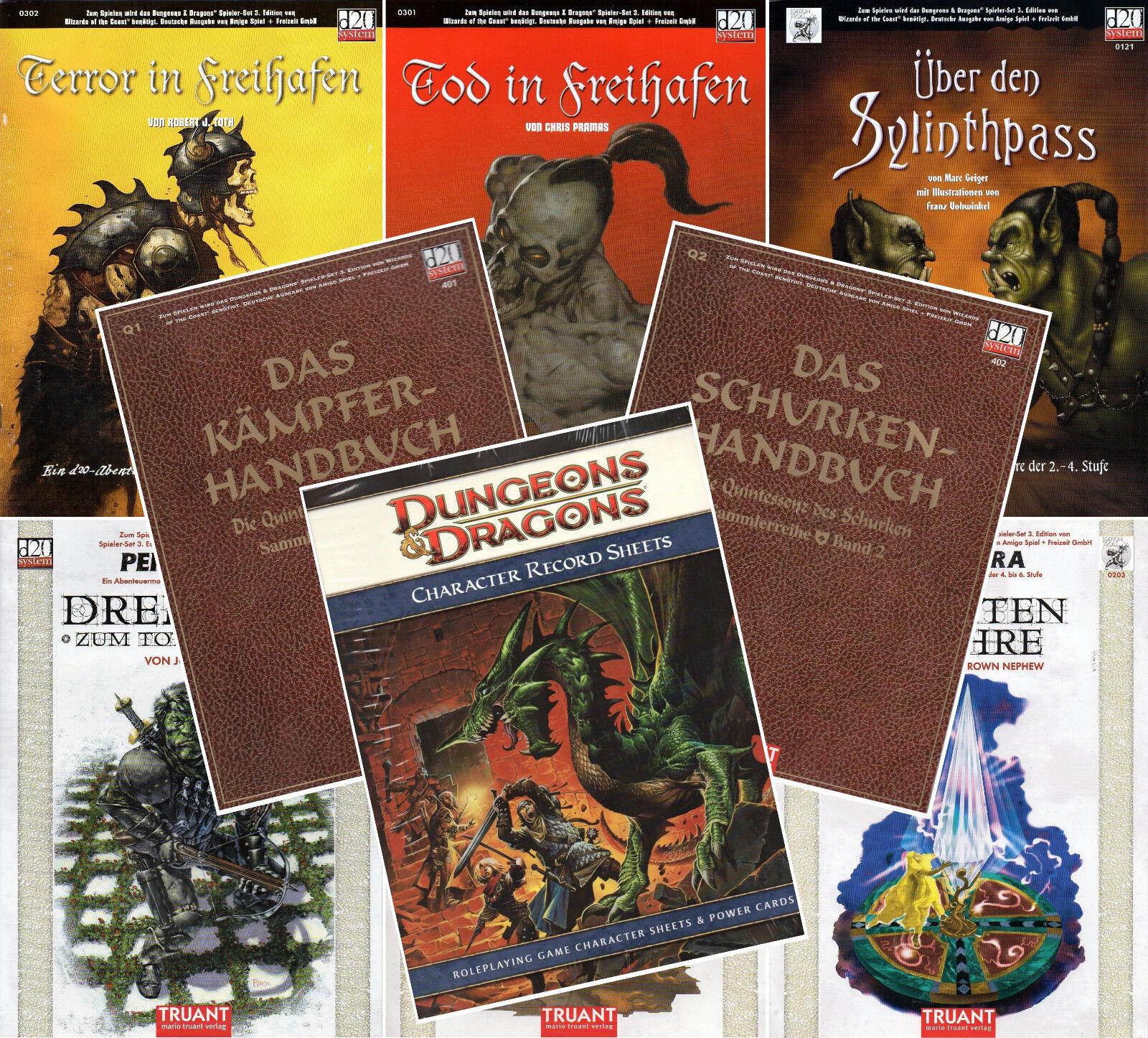 Bundle-9 x D&D-d20-Kämpfer & Schurken Handbuch-Tod-Terror-Freihafen-Tage-Sheets