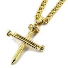 "Mens 14K Gold Plated Nail Cross Pendant Hip-Hop 5mm/24"" Flat Cuban Chain"