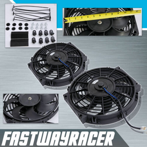 Universal 2X 10/'/' Electric Cooling Radiator Fan 2500CFM 12V 80W Black S Blade