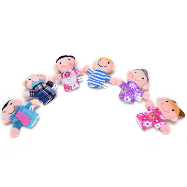 6x Family Finger Puppets Cloth Doll Baby Educational Hand Toy Story Kid Gift、 SE