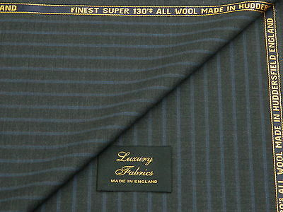 SUPER 130s ALL WOOL SUITING FABRIC GREY LILAC STRIPE 3.5M MADE IN ENGLAND
